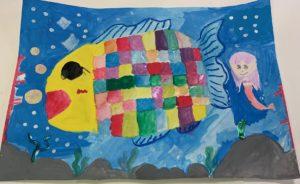 田島みうさん(小3) くらい海の中をキラキラ光っている魚がおよいでいたらいいなと思って書きました。